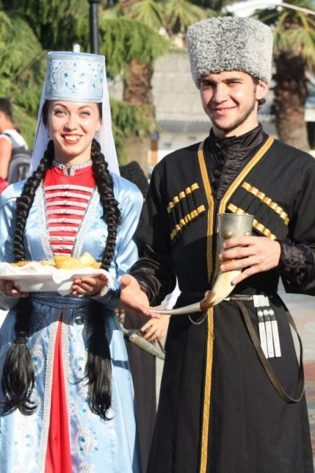 Circassians in traditional Kabardino attire (Source: Pinterest).