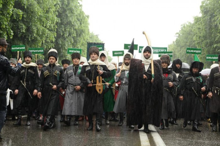 A memory march in Nalchik, 21 May 2018. The banners carry the names of Circassian sub-ethniticies | Nauruz Aguey