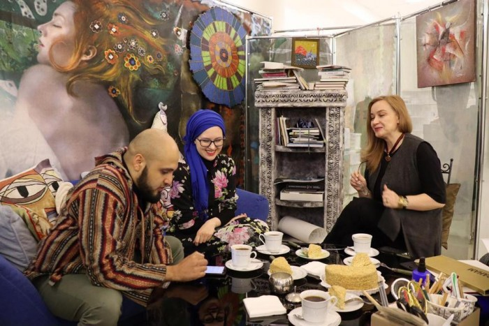 From left to right: Salahuddin Mazhary, who conducted this interview; Bella Bekanova, a Circassian London-based fashion stylist who set up this interview and Madina Saralp- one of the North Caucasus most prolific folkloric fashion designers. (Courtesy of: Aslan Mazukabzov)