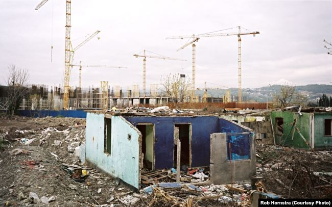In Sochi, villages were bulldozed to make way for massive complex construction. (RFE/RL)