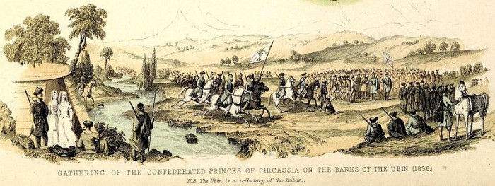 Gathering of the confederated princes of Circassia on the banks of the Ubin. 1836. Wikimedia
