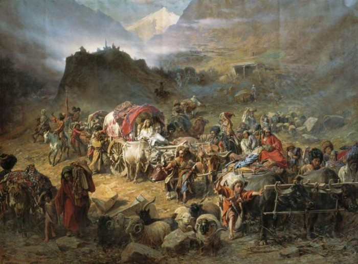 An 1872 painting by P.N. Gruzinsky shows Circassians leaving their homeland. (Wikimedia Commons)