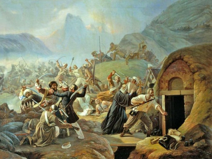 An 1840 illustration shows Circassians attacking a Russian Military Fort which was built over a Shapsugian village. (Wikimedia Commons)