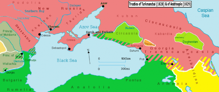 Territorial changes since the Treaty of Adrianople.
